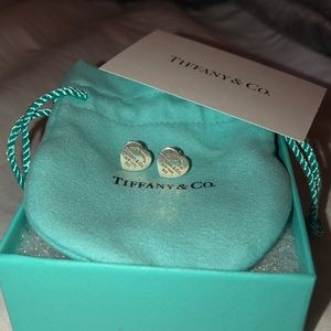 Sterling silver Tiffany & Co. heart stud earrings